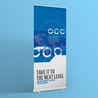 "Banner Printing Example - ""TAKE IT TO THE NEXT LEVEL Creating Powerful Solutions for Your Business"