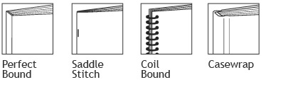 Book Binding - Perfect Bound, Saddle Stitch, Coil Bound, Casewrap