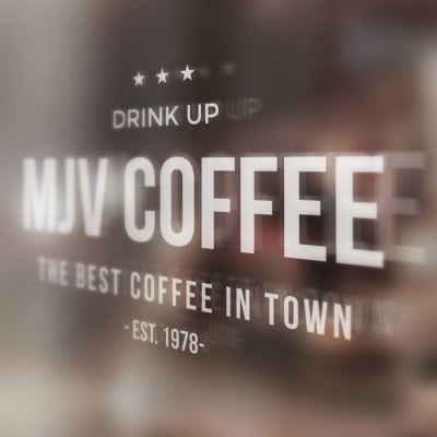 "Window Graphic Example - ""Drink Up MJV COFFEE"""