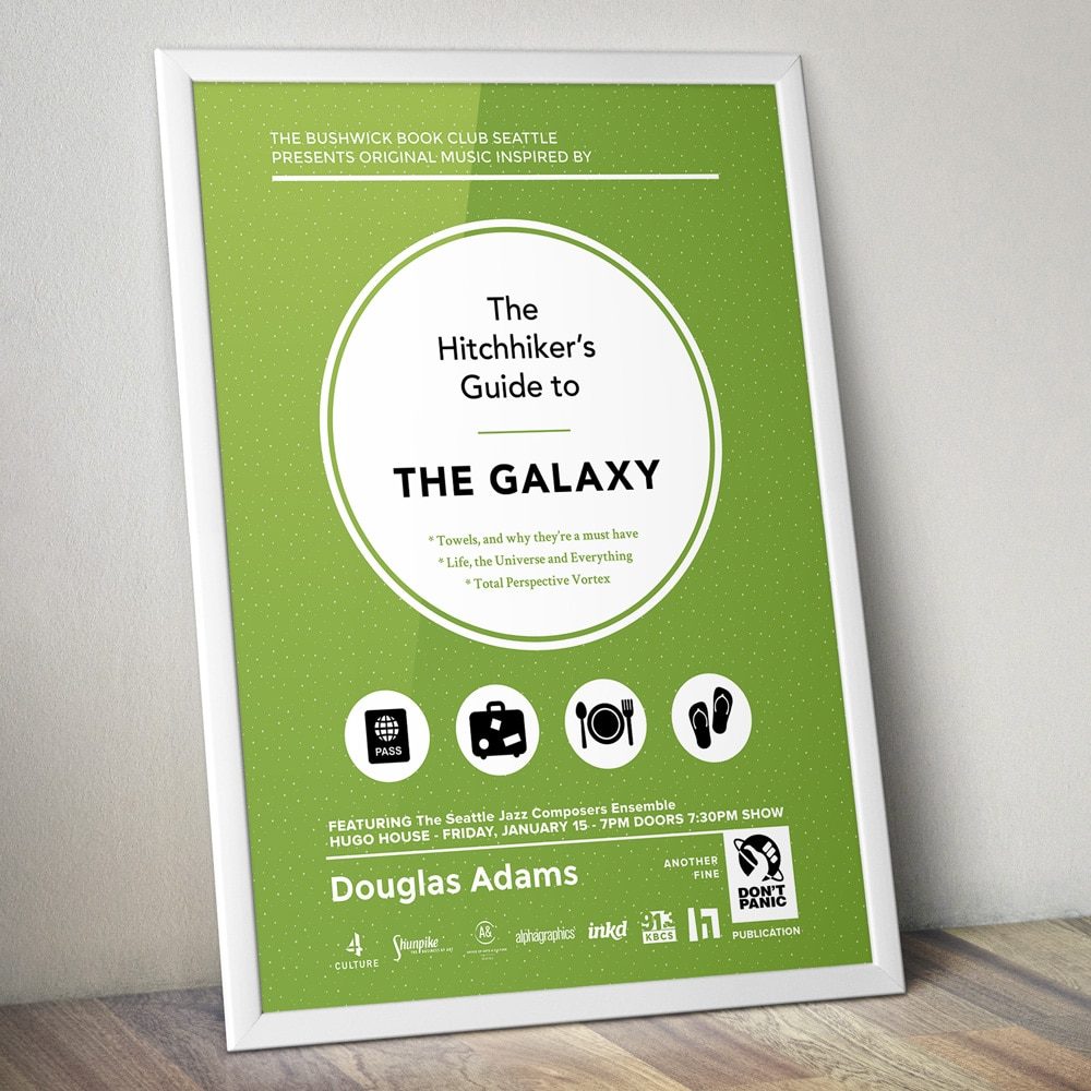"Poster Printing - Posters and Signs (Example poster is for the book ""The Hitchhiker's Guide to the Galaxy"""