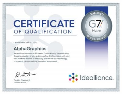 AlphaGraphics is a G7 Master Qualified Printer