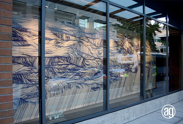 fabric window art installation