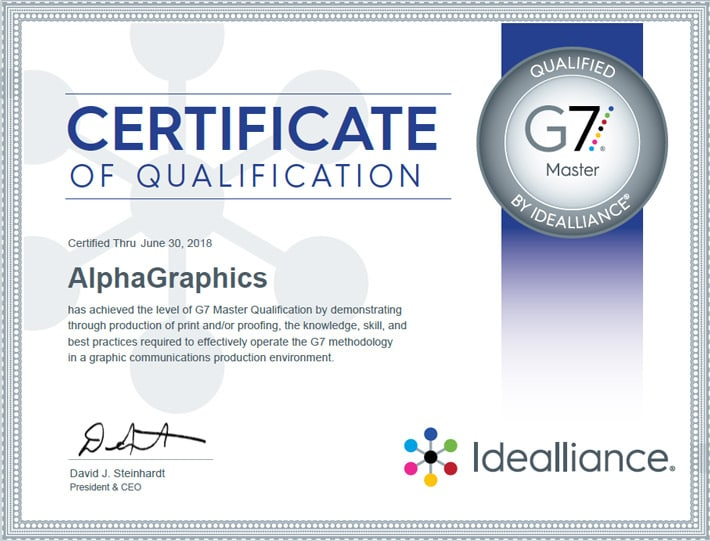 alphagraphics seattle g7 certification